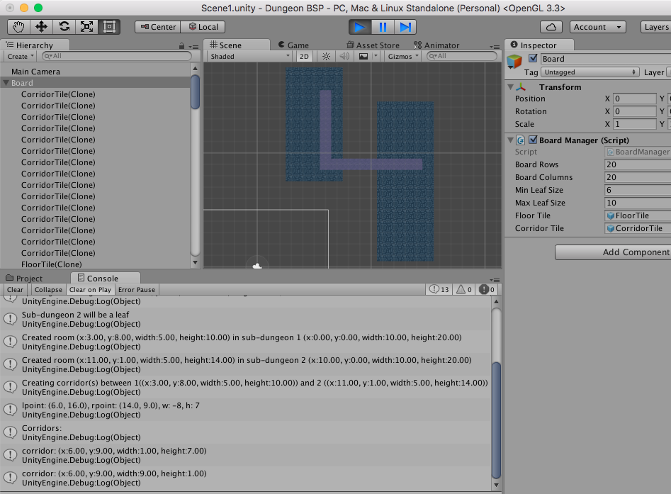 Random 2D dungeon generation in Unity using BSP (Binary